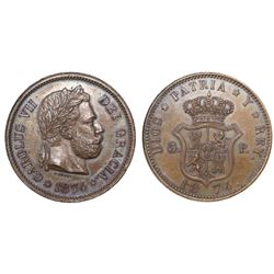 Spain (struck in Brussels, Belgium), bronze pattern 5 pesetas, Charles VII Pretender, 1874, second d