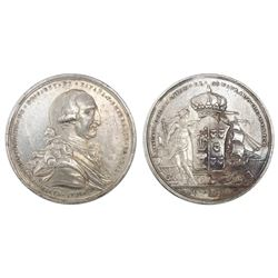 Mexico City, Mexico (Consulate), silver proclamation medal, Charles IV, 1789.