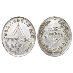 Lima, Peru, oval silver masonic medal, dated 1824.