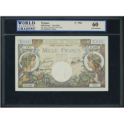 Paris, France, Banque de France, 1000 francs, 29-6-1944, series D. 2563, serial 064053101, WBG UNC 6