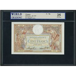 France, Banque de France, 100 francs, 28-1-1937, series J. 53121, serial 1328008639, WBG VF 25.