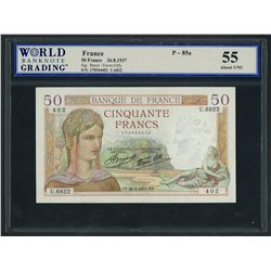 France, Banque de France, 50 francs, 26-8-1937, series U. 6822, serial 170544402, WBG AU 55.