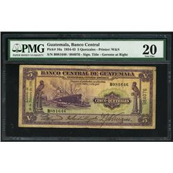 Guatemala, Banco Central, 5 quetzales, 29-2-1936, serial B081646 / 984076, PMG VF 20.
