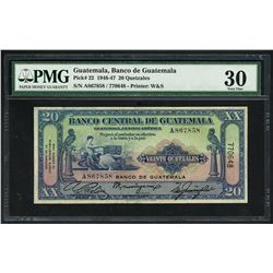Guatemala, Banco de Guatemala overprint on Banco Central, 20 quetzales, 12-8-1946, serial 770648 / A