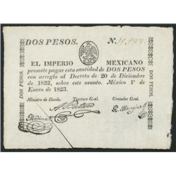 Mexico City, Mexico, Empire of Mexico, small-size 2 pesos, 1-1-1823, serial 11,122, ex-Bevill.