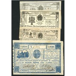 Lot of nine Paraguay, National Treasury, ND (1865) notes.