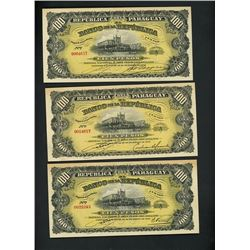 Lot of thirteen Paraguay, Banco de la Republica, 26-12-1907, series A notes.