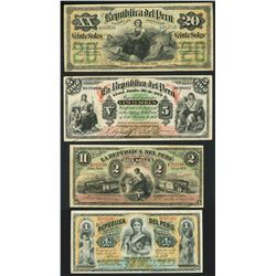 Lot of four Lima, Peru, Republica del Peru, notes of 30-6-1879.