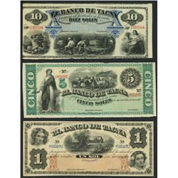 Lot of three Tacna, Peru, Banco de Tacna remainder notes, ca. 1872: 10, 5, and 1 soles.