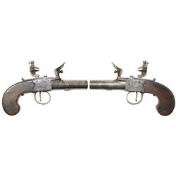 English flintlock boxlock screw-barrel pocket pistol, 1800-1820.