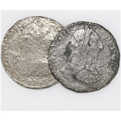 Lot of two Mexico City, Mexico, bust 8 reales, Charles III: 1783FF and undated.