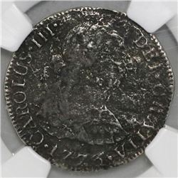 Mexico City, Mexico, bust 2 reales, Charles III, 1773FM, initials facing rim, NGC genuine / El Cazad