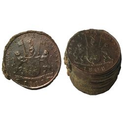 Encrusted stack of twelve British East India Co. copper X cash, 1808.