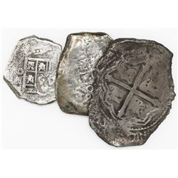 Lot of three Mexican silver cobs from various wrecks: 8R oMP Maravillas (1656); 8R 1732F 1733 Fleet;