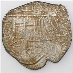 Potosi, Bolivia, cob 8 reales, Philip IV, assayer not visible (style of 1629T, denomination 8, fine-