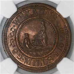 Ceylon (British), bronze 19-cents token, 1843 (1881), George Steuart & Co., Wekande Mills, NGC MS 62
