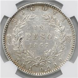 Bogota, Colombia, 1 peso, 1867, NGC XF details / excessive surface hairlines.