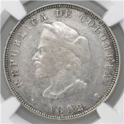 "Bogota, Colombia, 50 centavos, 1892, Columbus, large bust (30.5 mm), cap points to left of ""A,"" NGC"