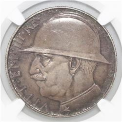 Rome, Italy, 20 lire, Vittorio Emaneule III, 1928-R, 10th anniversary of the end of World War I, NGC