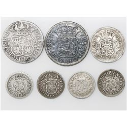 Lot of ten Mexico City, Mexico, pillar minors: two 2R (1753M, 1768M), one 1R (1750M) and seven 1/2R