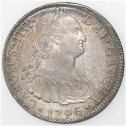 Mexico City, Mexico, bust 8 reales, Charles IV, 1796FM.