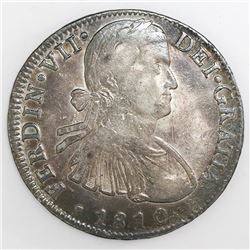 "Mexico City, Mexico, bust 8 reales, Ferdinand VII transitional (""armored"" bust), 1810HJ."