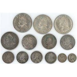 Lot of thirteen silver crowns and minors of Panama from the Balboa series, 1904-1953, various denomi