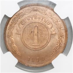 Paraguay, copper 1 centesimo, 1870-SHAW, NGC MS 65 RD, ex-Heaton Mint Archives (stated on labels).