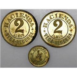 Lot of five Puerto Rico brass hacienda tokens, Vega Redonda, in denominations of 5 almud, 2 almud (t
