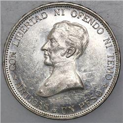 Uruguay (struck in Santiago, Chile), 1 peso, 1917, Artigas.