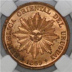 Uruguay (struck at the Heaton mint, England), copper 1 centesimo, 1869-H, NGC MS 64 RD, ex-Heaton Mi