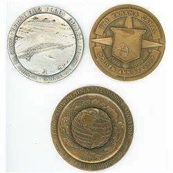 Lot of three large medals commemorating Thatcher Ferry Bridge in Panama (1962), Panama
