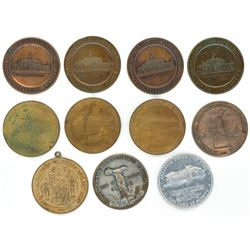 "Lot of eleven base metal US ""so-called dollars,"" Panama-Pacific Exposition Fund state medals, 1915,"