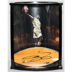 LeBron James Signed St. Vincent - St. Mary High School Game-Used Floor Piece with Custom Curve Displ