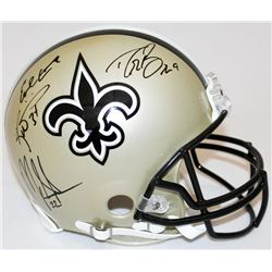 Drew Brees, Earl Campbell, Mark Ingram  Ricky Williams Signed Saints Full-Size Authentic Proline Hel