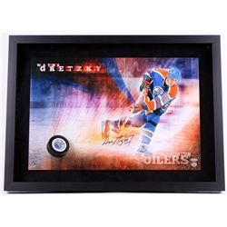 "Wayne Gretzky Signed Oilers ""Slap Shot"" 22x30 Custom Framed Photo Display with Hockey Puck Breakthro"
