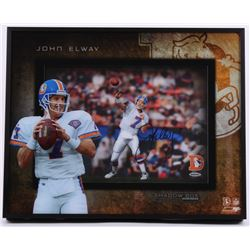 "John Elway Signed Broncos ""Prolific Passer"" 16x20x3 Custom Framed Shadowbox Display (UDA COA)"