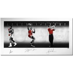 "Muhammad Ali, Michael Jordan  Tiger Woods Signed ""Legends of Sport"" 49x25 Platinum Photo Print LE 10"