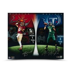 "Jameis Winston  Marcus Mariota Dual-Signed ""Draft Board Leaders"" 24x20 Photo LE 25 (UDA COA)"