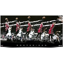 "LeBron James Signed Heat ""Posterized"" 15x30 Photo (UDA COA)"