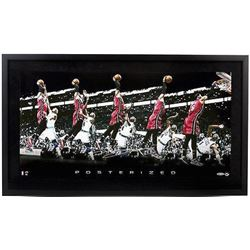 "LeBron James Signed Heat ""Posterized"" 15x30 Custom Framed Photo (UDA COA)"