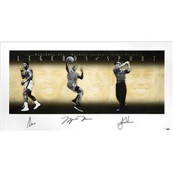 "Muhammad Ali, Michael Jordan  Tiger Woods Signed ""Legends of Sport"" LE 25x49 Photo (UDA COA)"