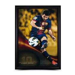 "Lionel Messi Signed Barcelona ""Flea Flicker"" LE 34x49 Custom Framed Soccer Ball Breakthrough Display"