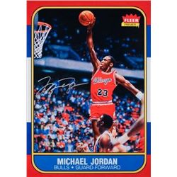 "Michael Jordan Signed Bulls ""Fleer Rookie Card Blow Up"" 12x17 Photo (UDA COA)"