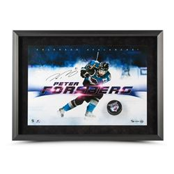 "Peter Forsberg Signed Avalanche ""Slap Shot Breaking Through"" LE 16x24 Custom Framed Hockey Puck Disp"