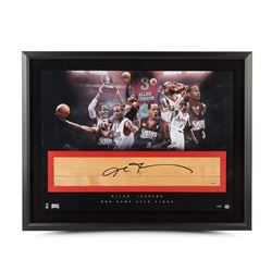 "Allen Iverson Signed 76ers ""The Question"" LE 24x36 Custom Framed Game-Used Floor Piece Display (UDA"