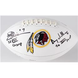Mark Rypien, Joe Theismann  Doug Williams Signed  Inscribed Redskins Logo Full-Size Football (JSA CO