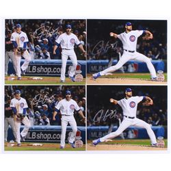 Lot of (4) Justin Grimm Signed Cubs 8x10 Photos (Schwartz COA)