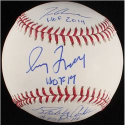 Tom Glavine, Greg Maddux,  Bobby Cox Signed OML Baseball with Hall of Fame Inscriptions (Steiner COA