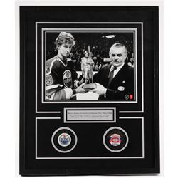 "Wayne Gretzky  Maurice Richard Signed 21""x 25.5"" x 1.5"" Custom Framed Shadowbox Hockey Puck Display"